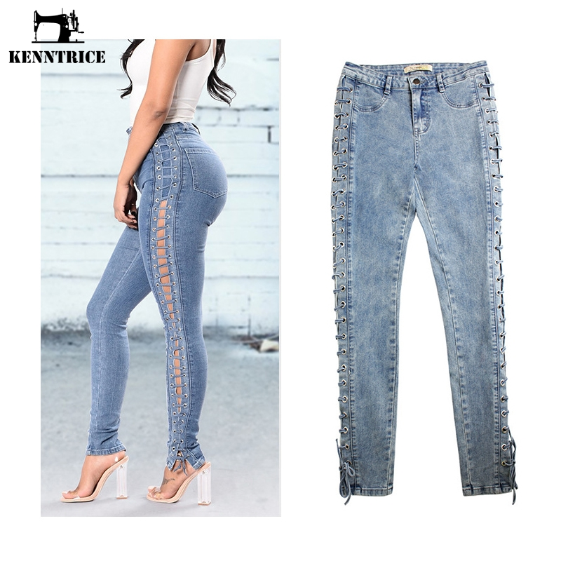 Female Jeans Stretch-Pants Slim-Fit Skinny Sexy High-Waist KENNTRICE Hot-Sale