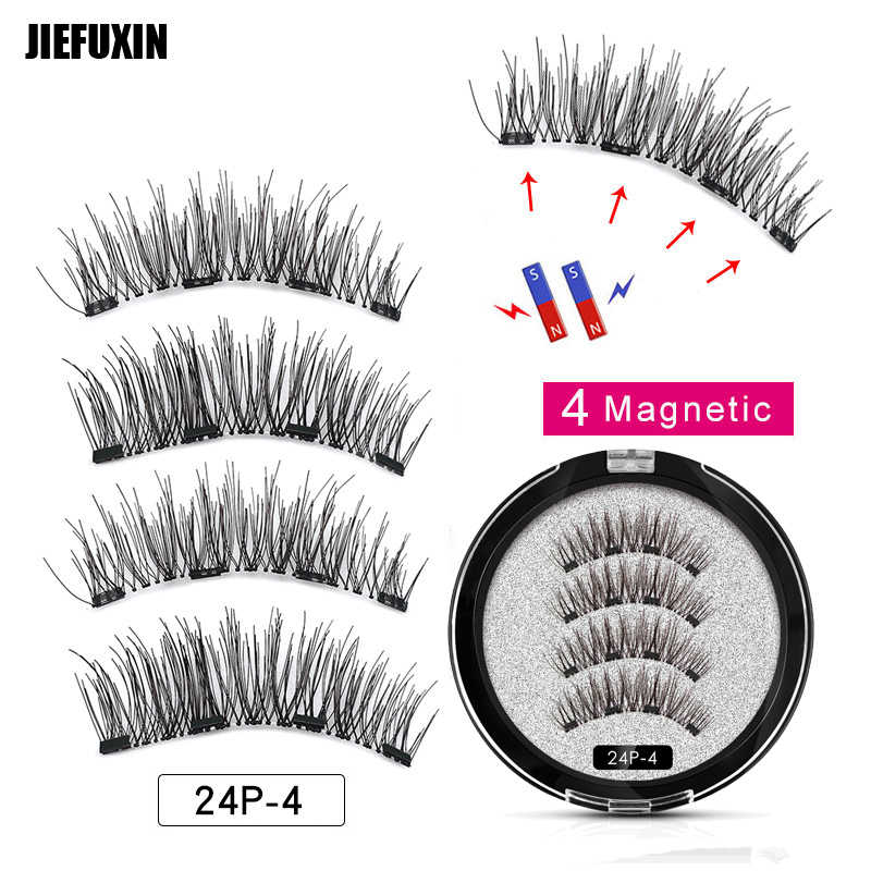 456f47fd149 JIEFUXIN Magnetic eyelashes with 4 magnets handmade 3D/6D magnetic lashes  natural false eyelash magnet