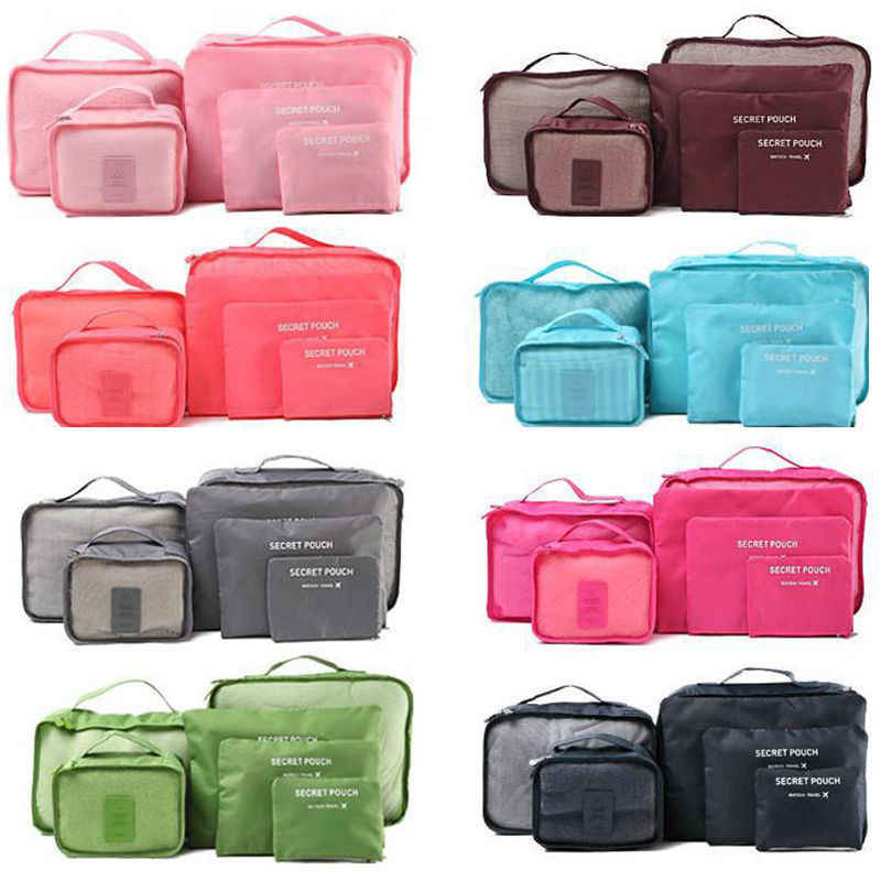 6 buah/set Berkualitas Tinggi Mesh Tas Organizer Bagasi Organizer untuk Pakaian Tas Koper Packing Cube Portabel Penyimpanan Case