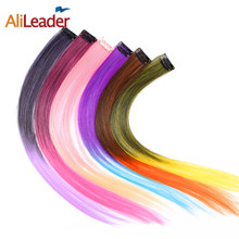 AliLeader Product 57 Colors Clip In One Piece Hair Extensions Synthetic Ombre Pink Red Blue Hair For Women Girl Kids With Clip(China)