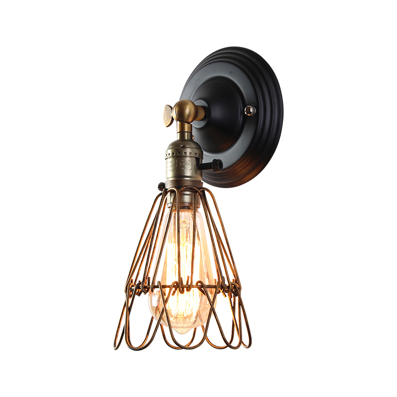 Able Creative Retro Small Iron Cage Loft Industrial Wind Wall Light Wall Lamp E26/e27 Bedside Lamp For Restaurant Kitchen Bedroom Elegant And Graceful Led Indoor Wall Lamps Lights & Lighting