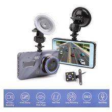 """Dash Cam New Dual Lens Macchina Fotografica Dell'automobile DVR Full HD 1080 p 4 """"IPS Anteriore + Posteriore Blu Specchio video Registratore di Visione notturna di Parcheggio Monitor"""