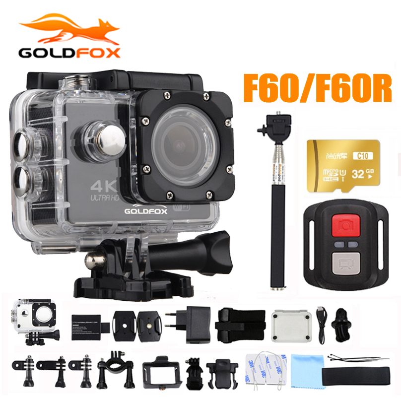 Goldfox 16MP 4K Wifi Action Camera 170D Wide Lens 30M Underwater Camera Go Waterproof Pro Sport DV Bike Helmet Cam action camera h3r h3 ultra hd 4k 170d lens go dual screen camera pro waterproof 30m remote control sport camera