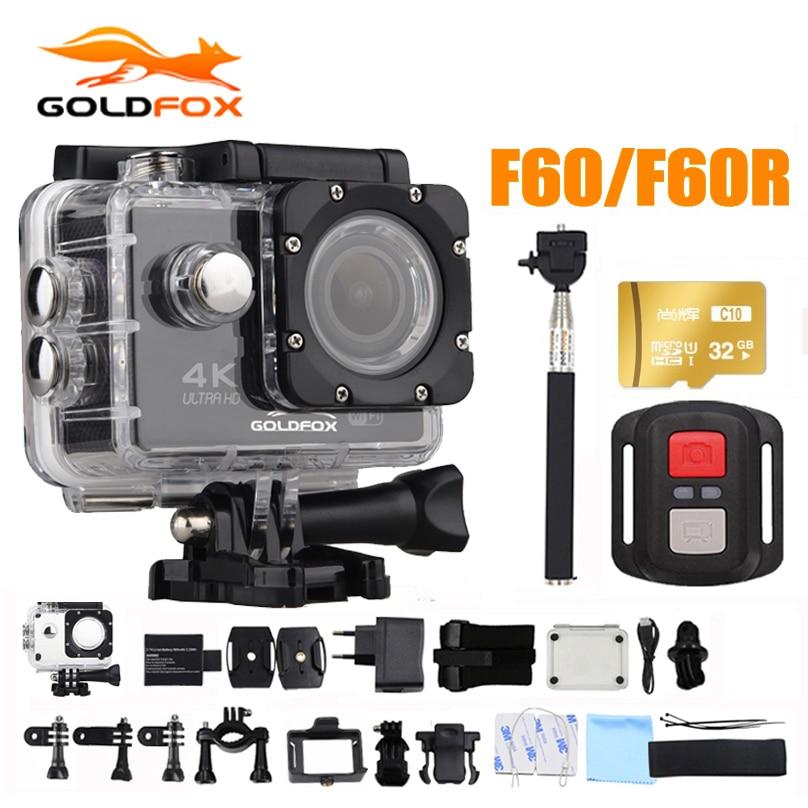 Goldfox Caméra d'Action 16MP 4K Wifi 170D Objectif Large 30M Support Vélo Et Étanche