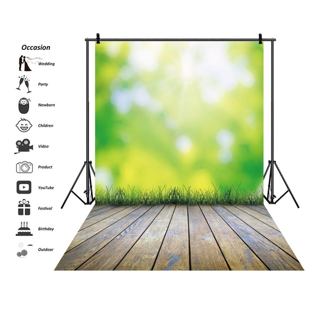 Laeacco Green Backdrops Spring Polka Dots Light Bokeh Grass Plank Baby Portrait Photographic Backgrounds For Photo Studio