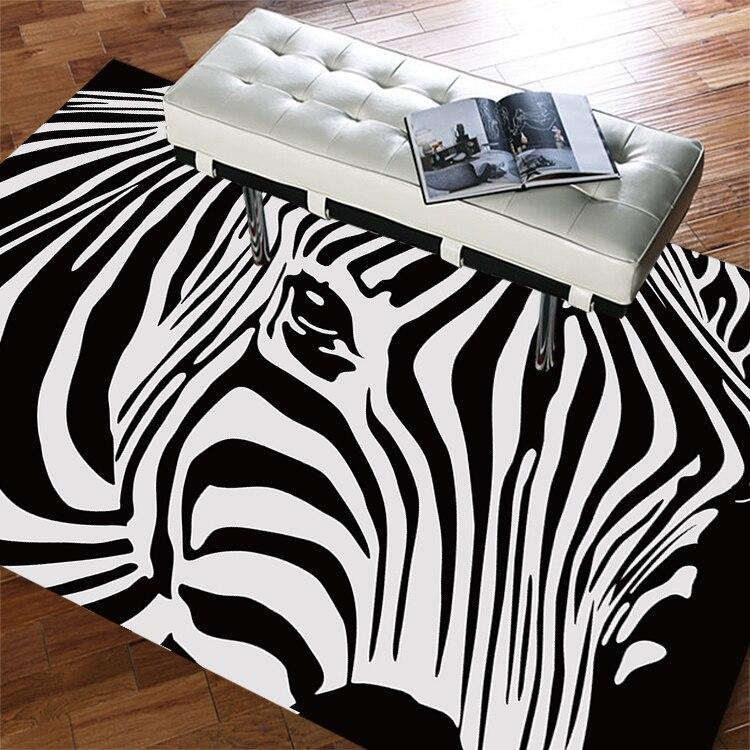 Тенденции моды Зебра Ковры современный минималистский черный, белый цвет Nordic Гостиная диван Кофе Таблица Спальня прямоугольный Ковры