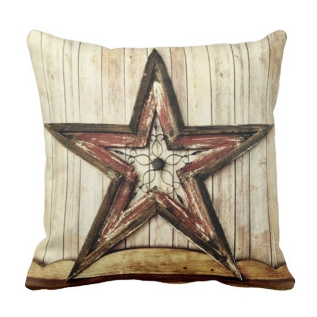 Throw Pillow Cover Wooden Rustic Country Western Star Barn Cabin Enchanting Cabin Decor Throw Pillows