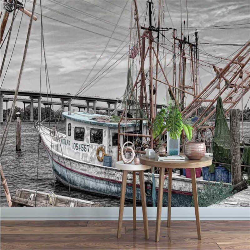 Foto Wallpaper Petualangan Laut Kapal Pesiar Berlayar Besar 3d Lukisan Dinding Wallpaper Pribadi Ruang Tamu Wallpaper