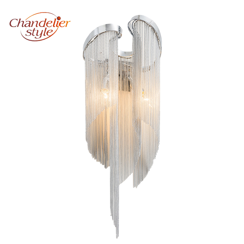 Modern Nordic Tassel Chandelier Wall Sconce Lamp Lighting Fixture Alluminum Chain Wall Light For Living Dining Room Decoration