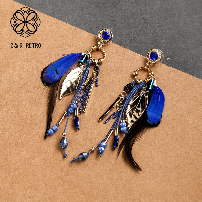 Fashion Feather Stud Earrings Cute Sweet Leaves Eardrop Jewelry Trendy Beads Tassels Feather Earrings for Women