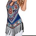 Sexy Women Summer Vest Retro Floral Cut Out T-sihrt Tassel Blouse Tops Sleeveless Casual Party Beach Dress Fringed