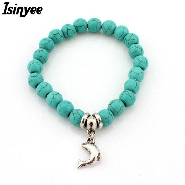 Isinyee Fashion Dolphin Elephant Owl Charm Elastic Animal Bracelets Femme For Women Hamsa Tree Natural Stone