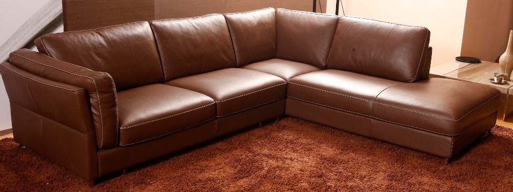 Living-Room-Furniture Sofa Chesterfield L-Shape Modern Genuine-Leather European-Style