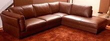 Estilo europeo Muebles de Sala sofá De Cuero Superior Genuino seccional sofá en forma de L Sofá de la Sala moderna casa