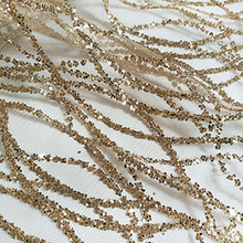 360 cm french art curve lace sequins net fabric champagne gold shiny party  dress mesh fabric cd9291076db8