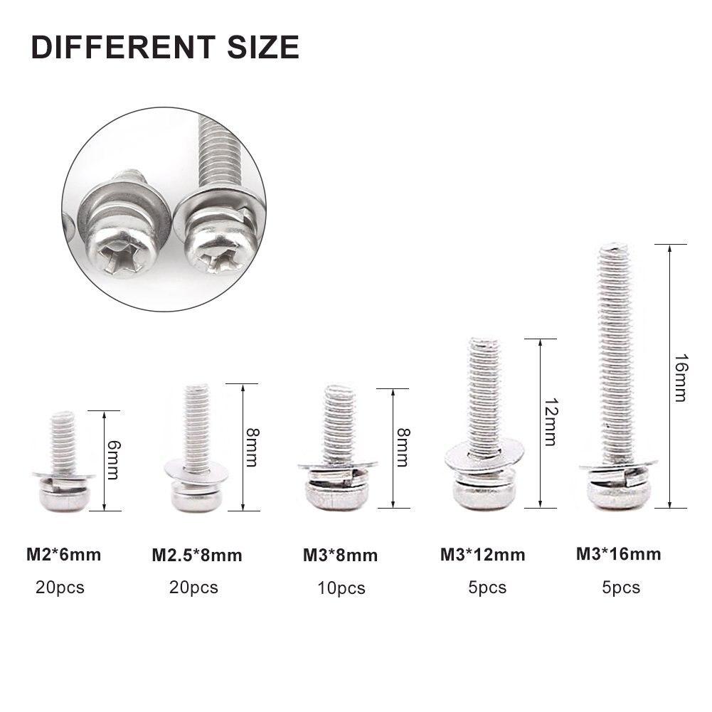 160 pcs M2 M2.5 M3 M4 M5 304 Stainless Steel Pan Head Screws Nuts Assortment Kit with Storage Box 10 Kind of Small Screws Nuts