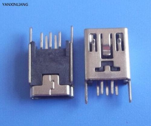 цена на 10PCS Mini USB Type B Female 5 Pin DIP 2 pin Vertical Leg PCB Socket Connector