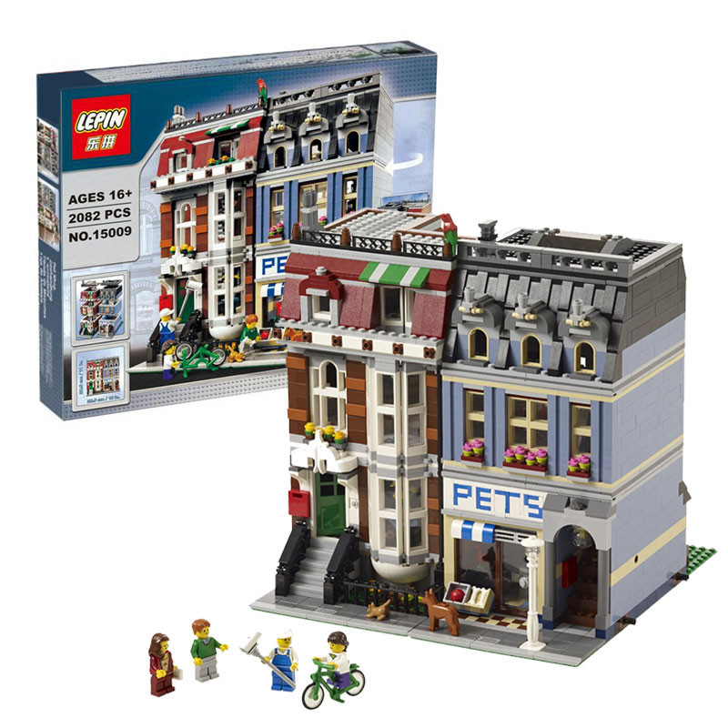 LEPIN 15009 Pet Shop Supermarket Model City Street Creator Building Blocks Compatible Legeod 10218 Toys For Children lepin 15009 city street pet shop model building kid blocks bricks assembling toys compatible 10218 educational toy funny gift