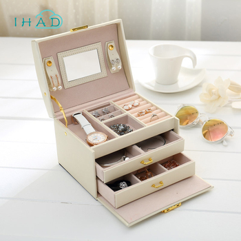 High quality PU Leather Jewelry box Organizer Bracelets Earring&Ring Storage box Casket case Necklace container Box Collection makeup organizer box