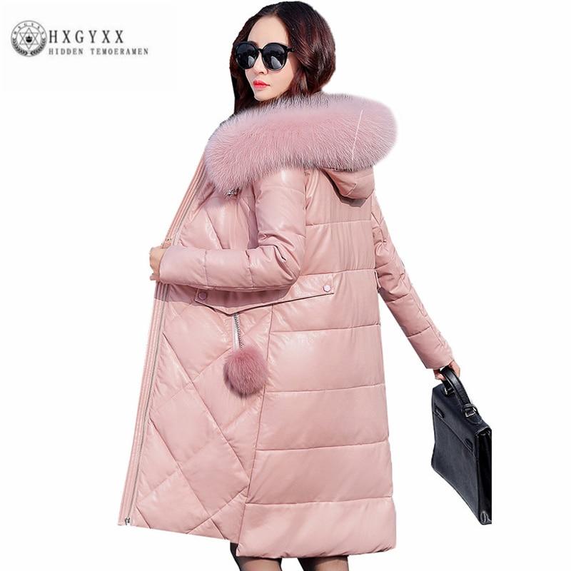 Real Fox Fur Collar Hooded Faux Leather Down Jacket 2017 Winter Woman Coat Warm Slim Feather Jackets Zipper Snow Parka Okb358 электрический насос для топлива smart power sp 810ep