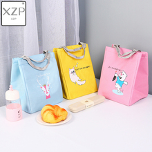 XZP Velcro Lunch Box Insulation Bag Printing Cartoon Penguin Bear Thermal Insulated Family Kids Portable Carry Tote