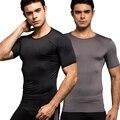 Homens Marca de moda Sexy Skinny Musculação Compressão Camisetas Cor Sólida Camisola de Manga Curta de Verão Para Homens