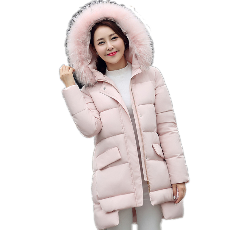 2016 Fashion Asymmetric Winter Jacket Women Loose Casual Fur Hooded Jacket Artificial Wool Collar Korean Plus