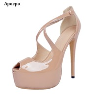 Apoepo Sexy Peep Toe High Heel Shoes Nude Patent Leather Platform Pumps For Woman 2018 Fashion