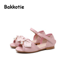 Bakkotie 2017 New Summer Child Casual Flats Baby Leisure Shoe kid Brand Girl Princess Pearl Bow Peep Toe Shoe Sweet Sandals Pink