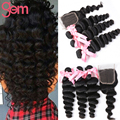 Indian Loose Wave with Closure Unprocessed Indian Virgin Hair Loose Wave with Closure Ali Moda Indian Human Hair Weave Bundles