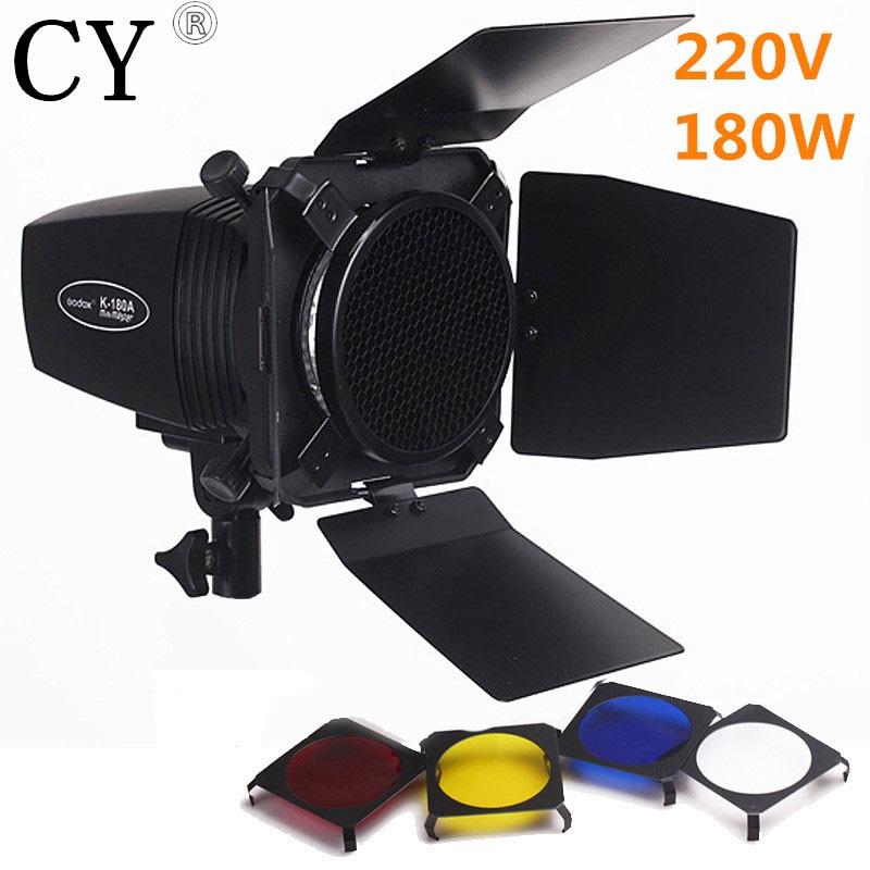 Godox K-180A Photo Studio Mini Strobe Monolight Lighting Kit 220v Flash Light+Light Barn Door & Honeycomb Grid & Gel PSK180D2 godox bd 04 barn door honeycomb grid with 4 color gel filter for standard reflector