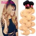 7A brasileiro feixes de cabelo Ombre raízes escuro mel loira brasileiro virgem extensões de cabelo Ombre preto # 27 loira onda do corpo