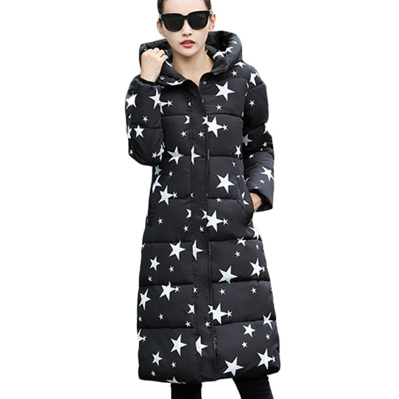 ФОТО 2016 Fashion Winter Cotton Padded Jacket Women Slim Thick Stars Print Female Coat Parka Warm Winter Long Jackets Ladies Overcoat