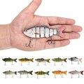 10 cm 3D Olhos Lifelike Isca De Pesca Com Anzóis Agudos 6 Seções Articulado Swimbait Hard Bait Isca Artificial Iscas de Pesca enfrentar