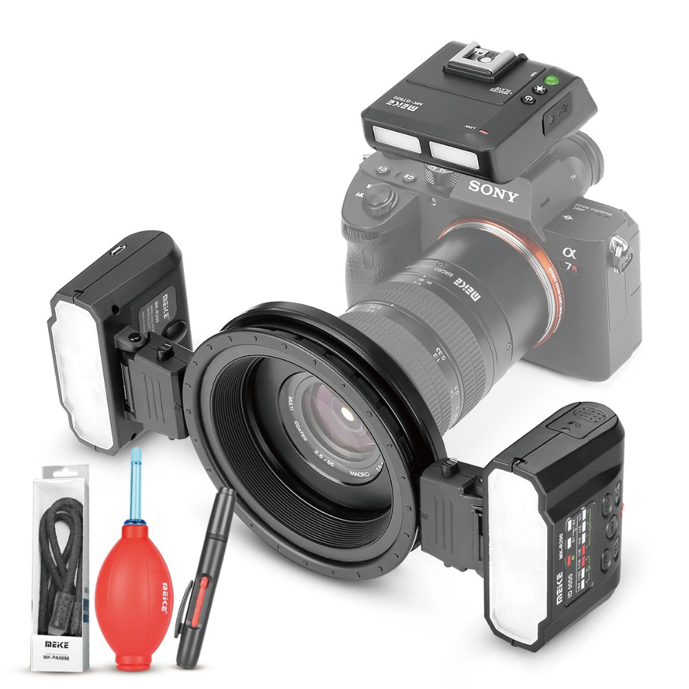 MEKE Meike MK-MT24 Macro Twin Lite Flash per Sony Alpha A7R A7S A7II A7RII A5000 A5100 A6000 A6300 A6500 Mirrorless telecamere + REGALO