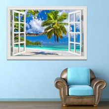 Summer Beach Coconut Tree Seaside Scenery 3D Wall Sticker Removable Wallpaper Creative Window View Home Wall Decor