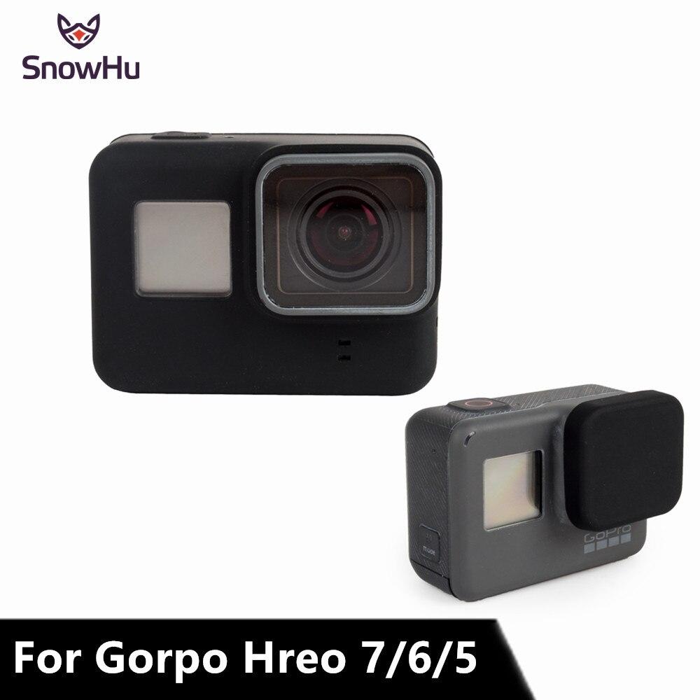 SnowHu pour GoPro accessoires boîtier de caméra d'action coque en silicone de protection + couvercle de capuchon d'objectif pour Go Pro Hero 7 6 5 GP502