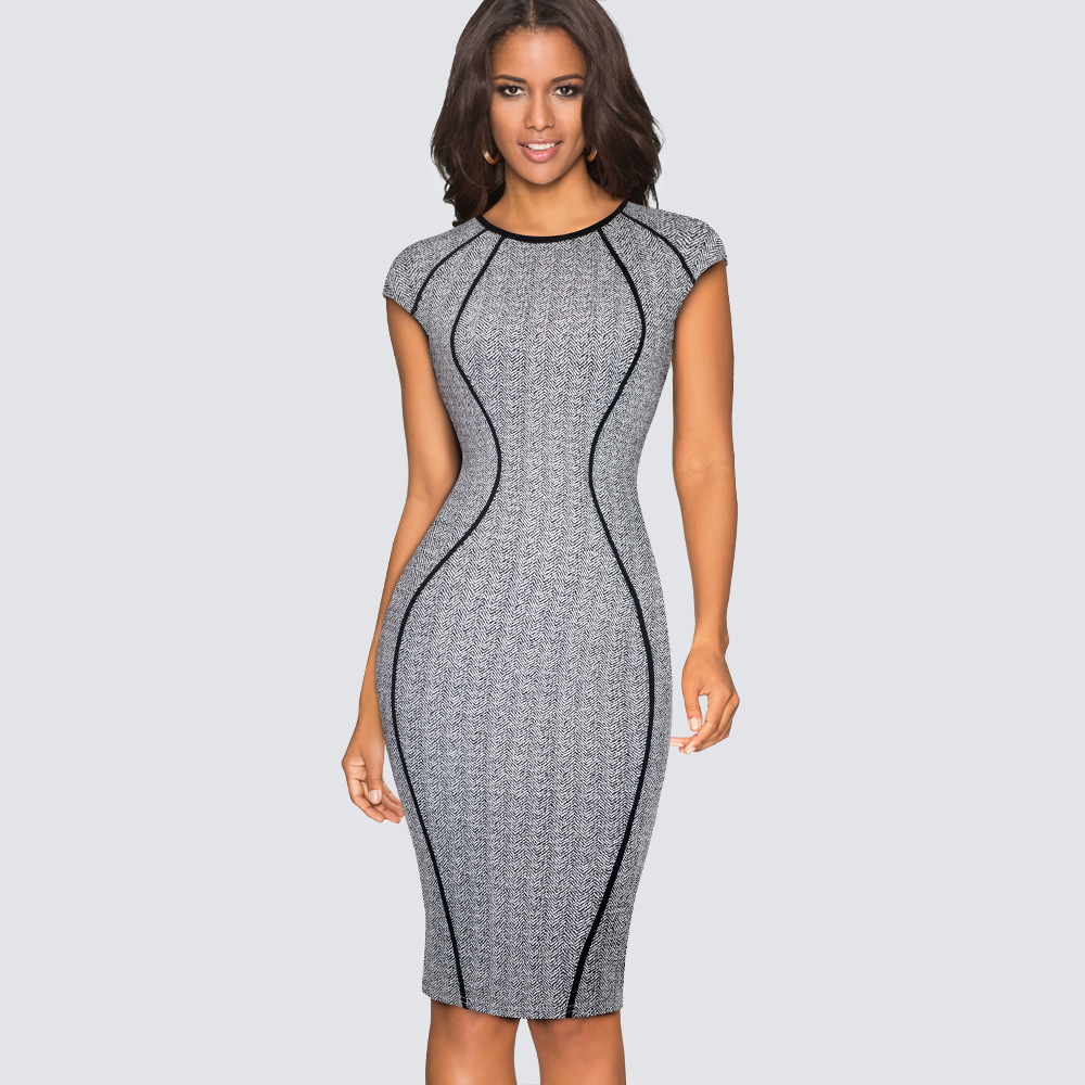 Women Casual Office Business Pencil Dress Summer Elegant Bodycon Slim Lady Dress HB458