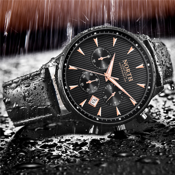 NORTH Men's Auto Date Chronograph Water Resistant Casual Luxury Military Quartz Wrist Watches 2