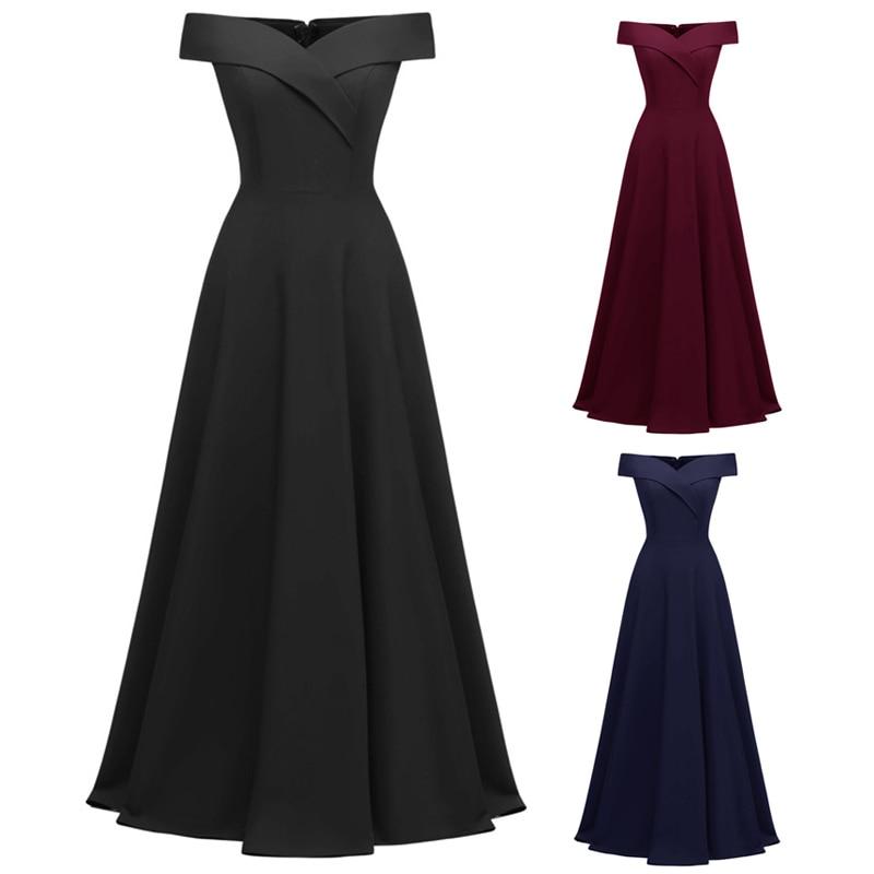 Femmes épaule dénudée robe Slim Fit Vintage rétro traînant robe pour soirée fête FS99