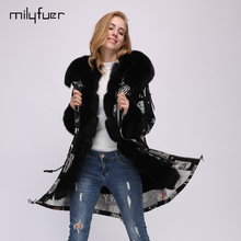 Milyfuer Fashion Print Parka Women Black Full Sleeve Real Fox Fur Collar Rabbit Fur Inside Winter Warm Female Jackets Parkas
