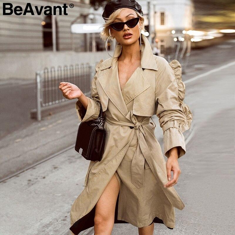 BeAvant Side ruffles sleeve   trench   coats 2018 High waist sashes cotton outwear coat Women casual v neck autumn long coats female