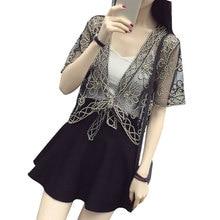 Summer Chiffon Blouses Kimono Cardigan Lace Sunscreen Women Beach Cover Ups Outwear Bow Shirt Tops