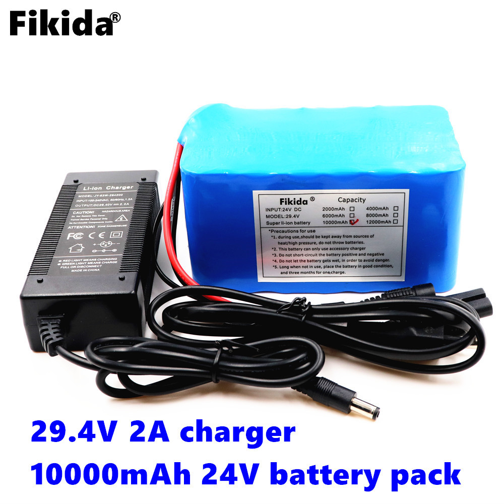 цена на Fikida new original 7S 24V 25.9V 29.4V 10Ah 18650 lithium-ion battery pack lightweight electric bicycle built-in 15A BMS