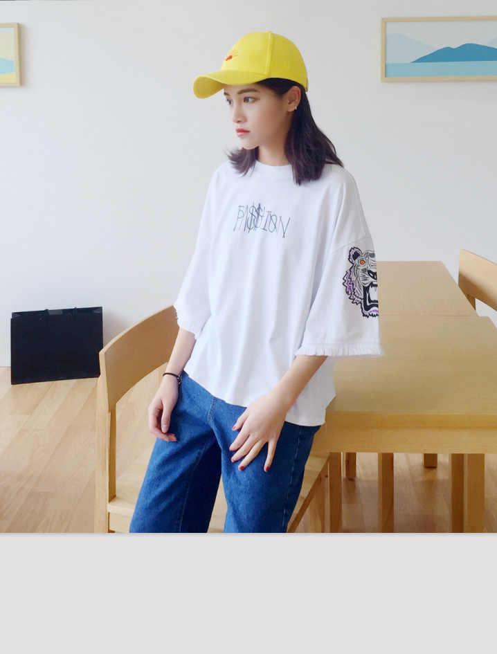 Женские повседневные летние футболки, футболки с коротким рукавом для девочек, топы с принтом тигра, Ulzzang Tumblr, футболка, женская футболка, Kawaii, футболка