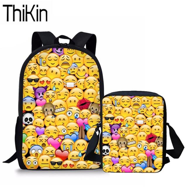 e80fe728bb6b THIKIN Funny Emoji Printing School Bags for Kids Preppy Shoulder Bagpack  Students Middle School Bagpack Teenager