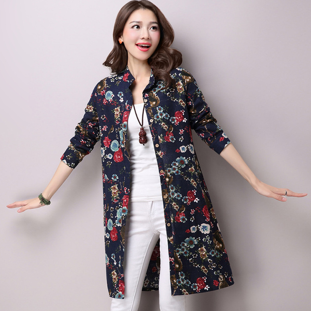 aefa91237 Vestidos online primavera Moda Feminina Camisa Longa Artes Estilo Casual  Solta Blusas de linho de algodão