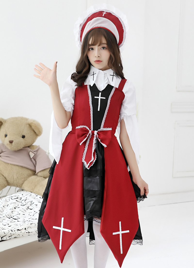 Online Shop Women's Gothic Lolita Cross Witch Costumes Elegant ...