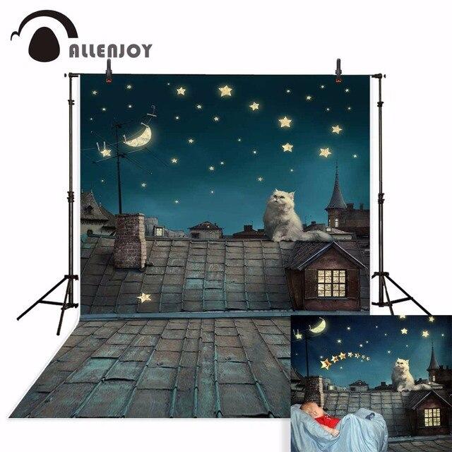 Allenjoy photo background Children backdrop cat backdrop night roof sky photographic background photography studio funds