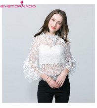 Flare sleeve lace shirt 2018 women summer sexy see through embroidery ruffled work office beach lace blouse top E1245
